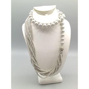 Stauer Pearls, Perle de Verre Glass Pearl, Grey Multi Strand and Large Bead